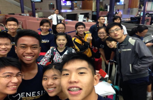 Picture: Harold taking a selfie with the class before leaving for Jogjakarta, Indonesia for the class' WOW trip.