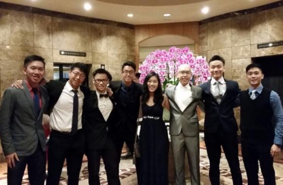 Picture: Harold at prom with his classmates, (from left) Elliot Tan, Mark Tang, Chua Yun Da, Joseph Tan, Cassie Yang, Wu Yu Lun, Joel Lee.