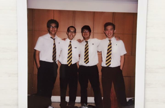 Picture: Harold's friends from his Year 5 Chinese Oral Group; (from left) Anders Seah, Mark Tang, Elliot Tan.